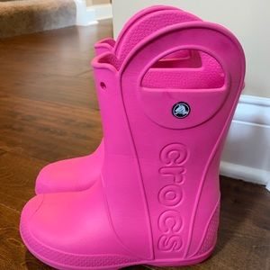 Pink CROCS boots size j3